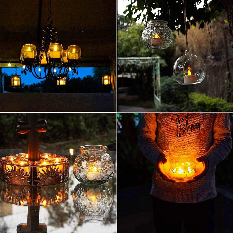 ANGMLN 8 St/ück Solar LED Kerzen Solar Kerzen Au/ßen Interior Solar Teelichter Wasserdicht Flammenlose Kerzen Solarleuchte Teelichter Nachtlicht f/ür Partei Hochzeit Festival Dekoration Warmwei/ß