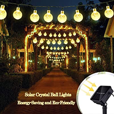KOMOON Solar String Lights 20ft 30 LED Crystal Ball Fairy Lights Outdoor Waterproof Christmas Decorative Globe Lights for Patio Yard Garden Xmas Tree Wedding Party (Warm White) : Garden & Outdoor