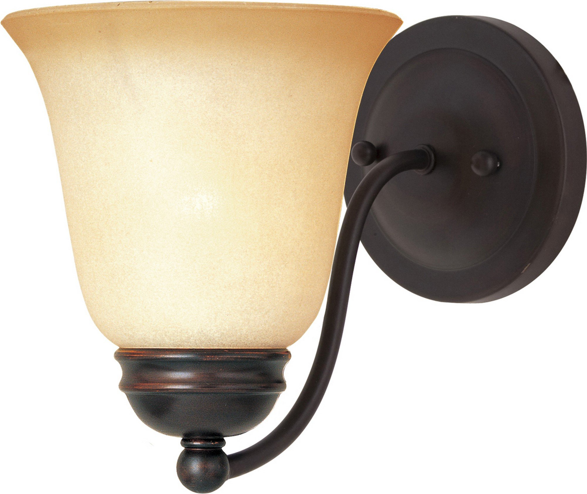 Maxim 2120WSOI Basix 1-Light Wall Sconce Bath Vanity, Oil Rubbed Bronze Finish, Wilshire Glass, MB Incandescent Incandescent Bulb , 100W Max., Damp Safety Rating, Standard Dimmable, Glass Shade Material, 4600 Rated Lumens
