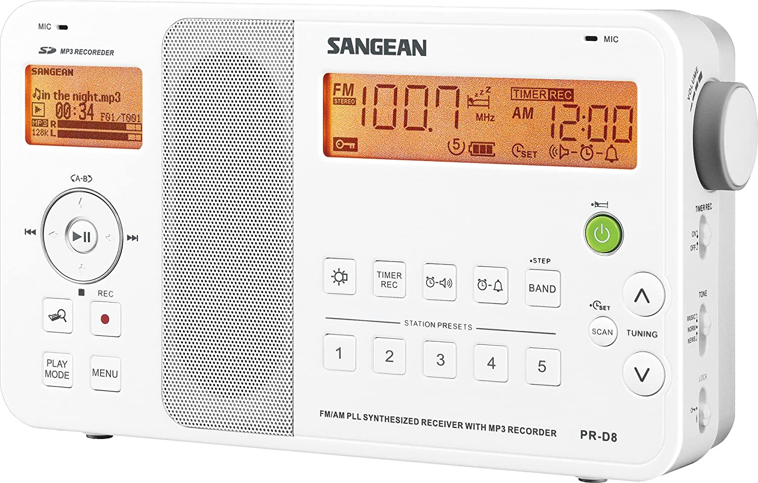 Sangean PR-D8 Portable Digital AM/FM Stereo Receiver with SD-MP3 Recorder and MP3/WMA Player (White) Sangean - CA