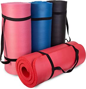 """Yoga Cloud 4-pack - 1"""" Extra Thick Fitness Mats with Shoulder Strap - Soft Non Slip Exercise Pad for Pilates, Stretching, Gym Classes, Home Workout, Camping, Physical Therapy & Joint Relief"""