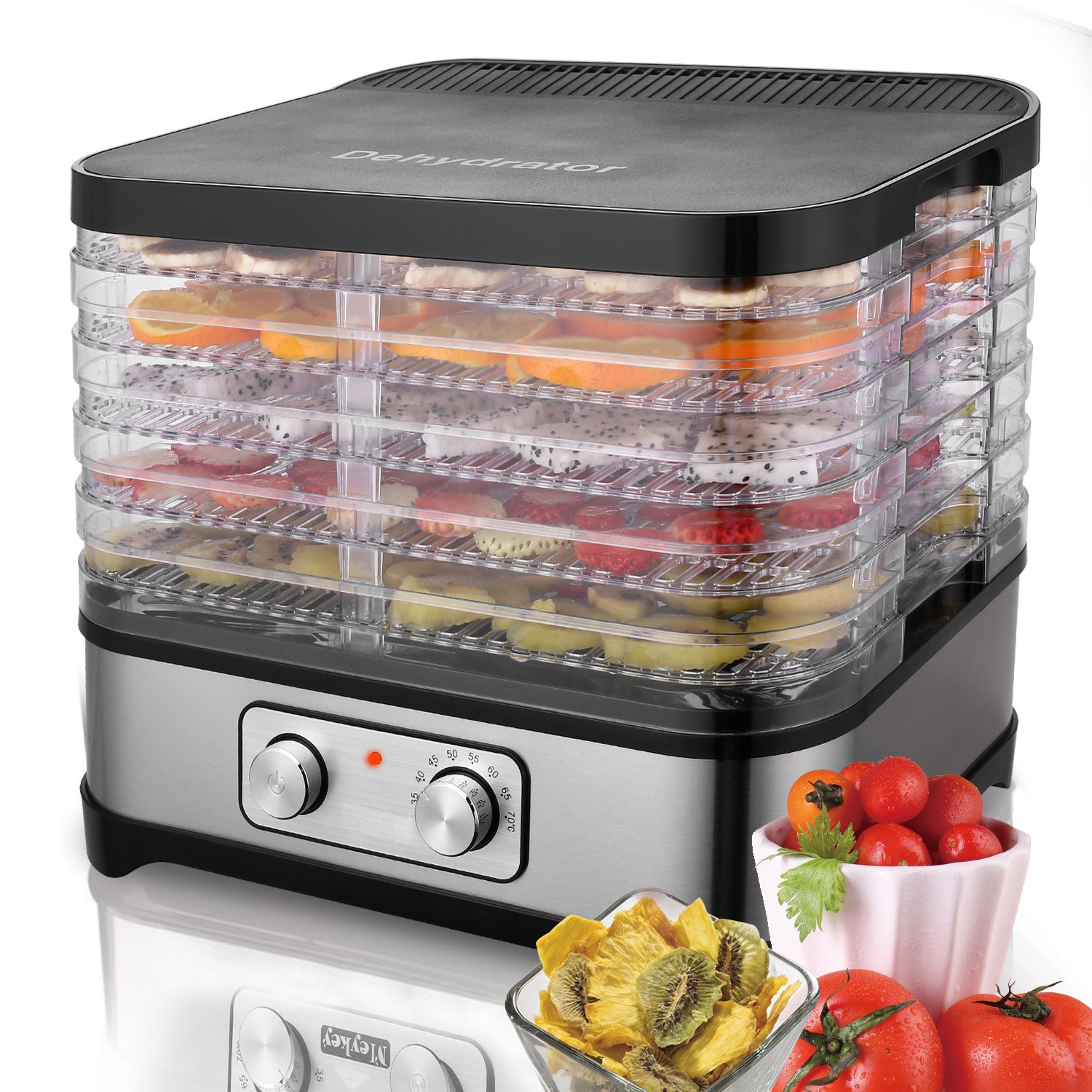 Meykey Food Dehydrator with Temperature Controller 35-70°C, Fruit-Meat Dryer, Digital Dehydrator, BPA-Free, 250W / Button