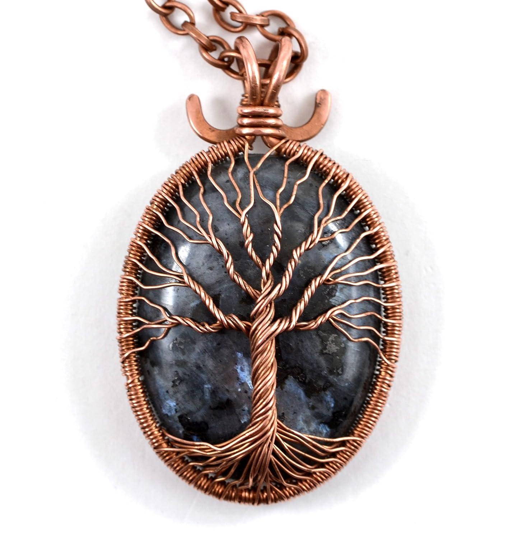Amazon Com Black Labradorite Tree Of Life Necklace Pendant