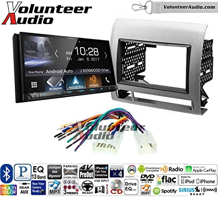 SiriusXM Fits 2005-2011 Non Amplified Toyota Tacoma Silver Kenwood DDX276BT Double Din Radio Install Kit With 6.2 Touchscreen