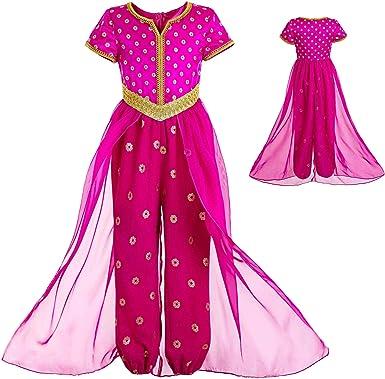 INGSIST Disfraz de jazmín Rosa para niña, Disfraz de Princesa ...