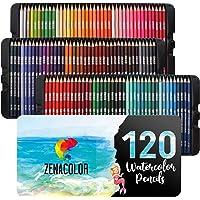 Vakada Numaralı 120 Zenacolor Suluboya Kalemleri, Suluboya Kalemler Set - 120 Profesyonel, Çözünür, Farklı Renk Kalemler