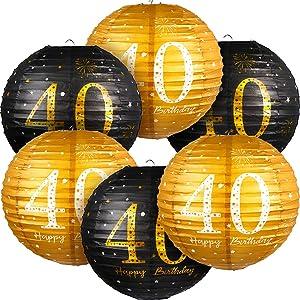 6 Pieces 40th Birthday Decorations Happy 40th Birthday Hanging Paper Lanterns Black Gold Glittery 40 Anniversary Party 40th Birthday Sign Decorations for 40th Men Women Birthday Party Supplies