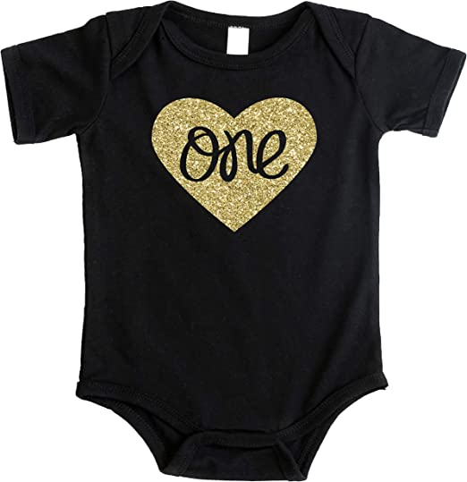 how-z-it Baby Girls First Birthday T Shirt Sparkly Gold Glitter One