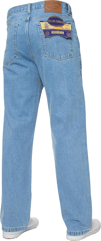 Mens Straight Leg Jeans Basic Heavy Work Denim Trousers Pants Big Tall King Sizes Bleach Wash