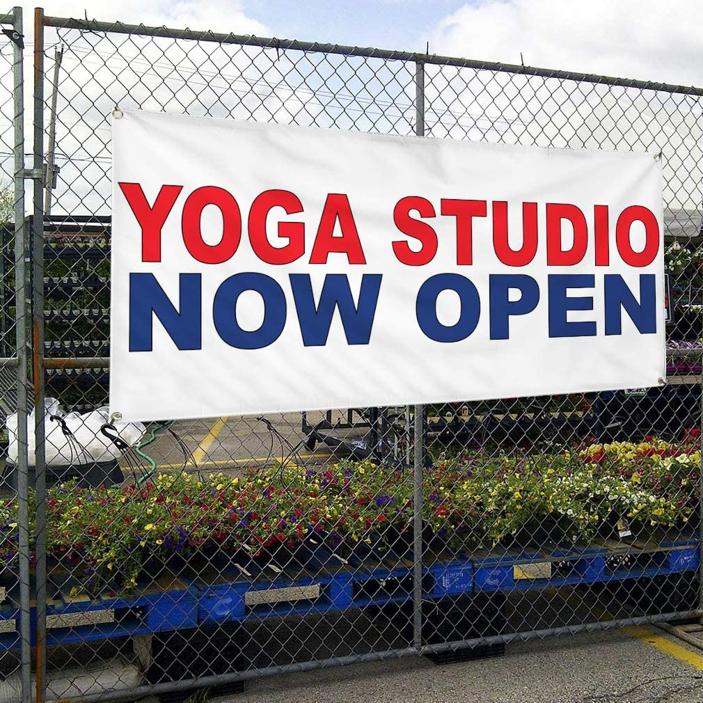 Vinyl Banner Multiple Sizes Yoga Studio Now Open Red Blue Business Outdoor Weatherproof Industrial Yard Signs 8 Grommets 48x96Inches