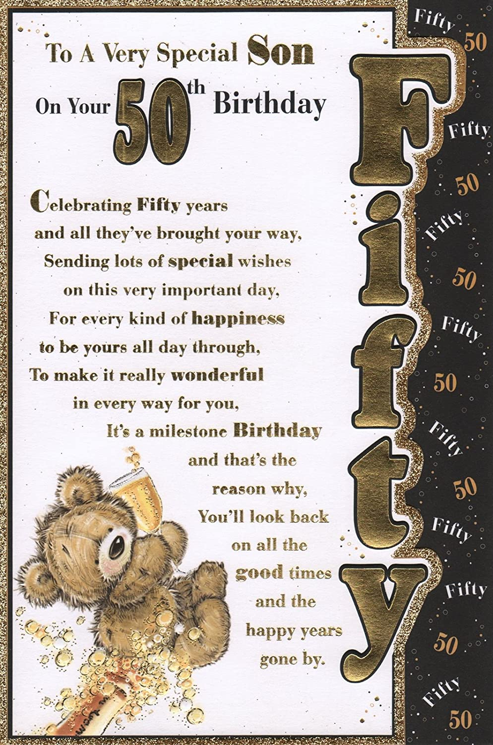 Sons 50th birthday card to a very special son on your 50th sons 50th birthday card to a very special son on your 50th birthday great quality card amazon garden outdoors m4hsunfo