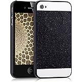 kwmobile Hülle für Apple iPhone 4 / 4S - Backcover Case Handy Schutzhülle Kunststoff - Hardcase Cover Glitzer Rechteck Design Schwarz Weiß