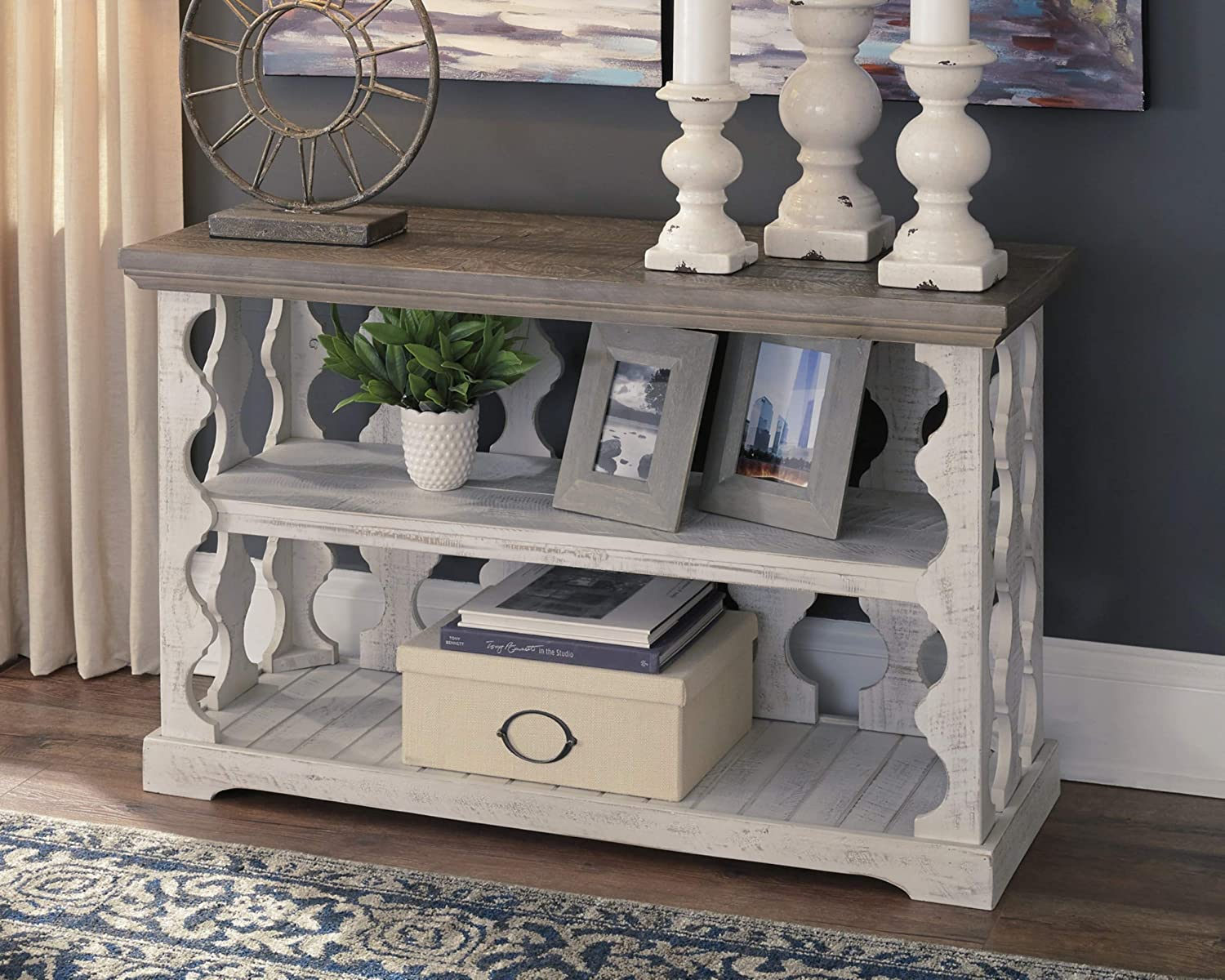 Signature Design by Ashley – Havalance Farmhouse Console Table, Whitewash Brown Wood