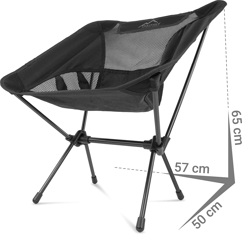 klappbarer Strandstuhl Anglerstuhl mit Aluminiumgestell 330 lbs Stabiler Outdoorstuhl Traglast: 135 Kg normani Ultraleichter Mini Campingstuhl MOAK 796 g