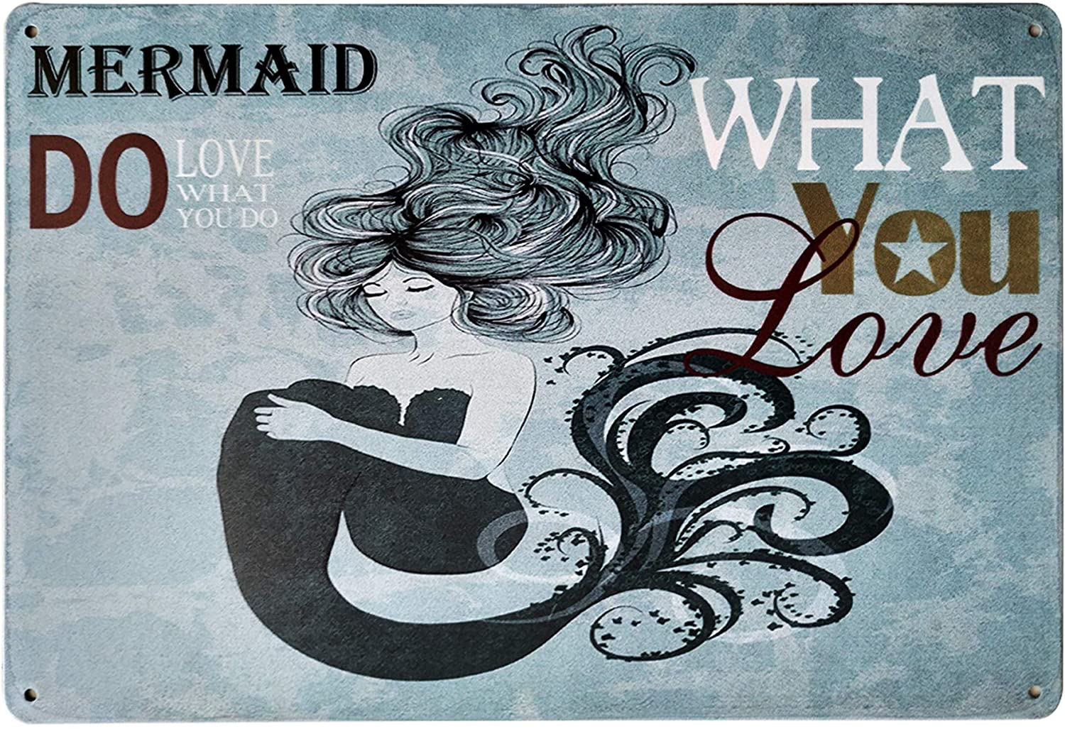 LASMINE Do What You Love Retro Mermaid Wishes Tin Sign Home Decor Bathroom Wall Metal Vintage Outdoor Garden Signs Kitchen Indoor Beach Decor8X12Inch