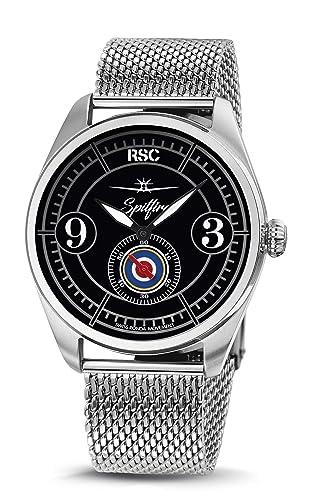 RSC Relojes De Piloto Hombres Análogo De Cuarzo Reloj con Cuero Pulsera Spitfire rsc2350: Amazon.es: Relojes