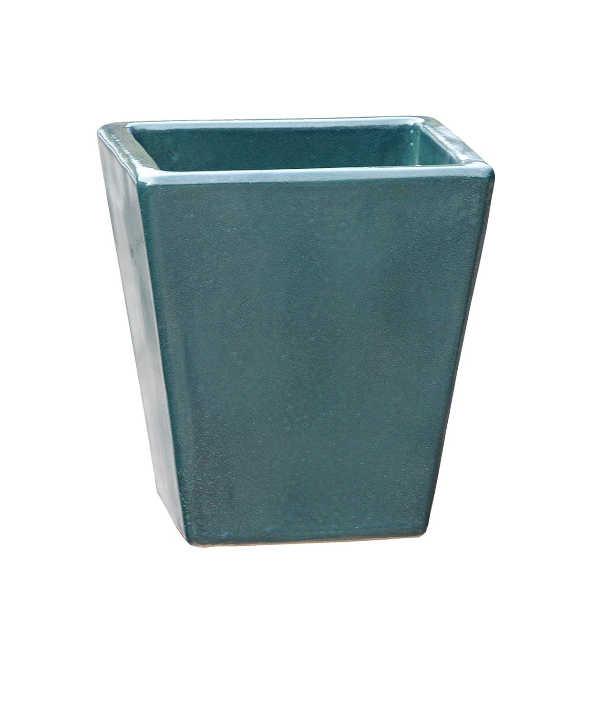 Großer Pflanztopf Pflanzkübel eckig frostsicher Größe L 40 x B 40 x H 42 cm, Farbe effekt grün, Form 242.042.66 Pflanzkübel quadratisch Qualität von Hentschke Keramik