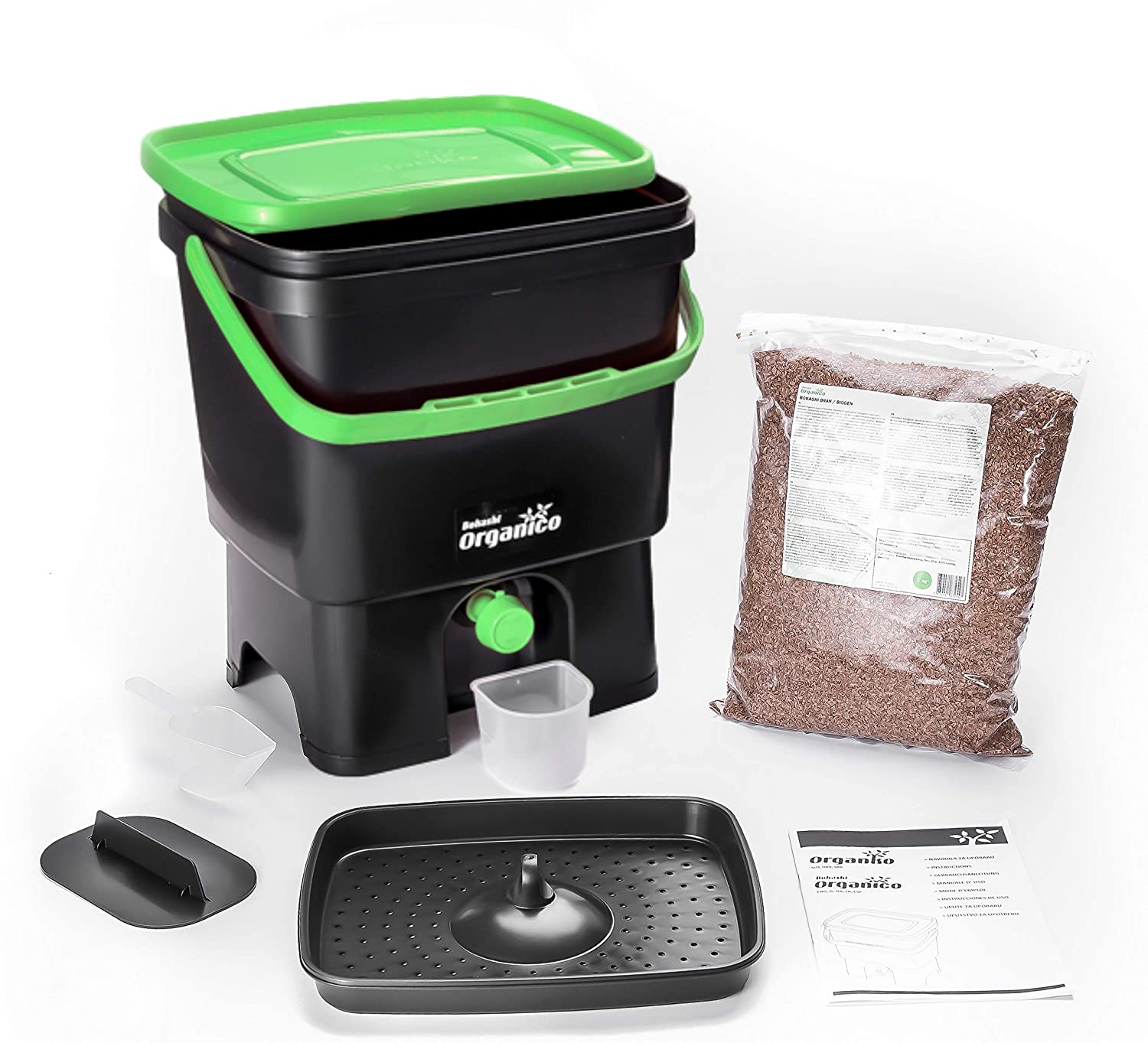 Composter Kit Black // Green Bokashi Organico Single with active Bran and Accessories Sustainable and Innovative Organic Waste Bin