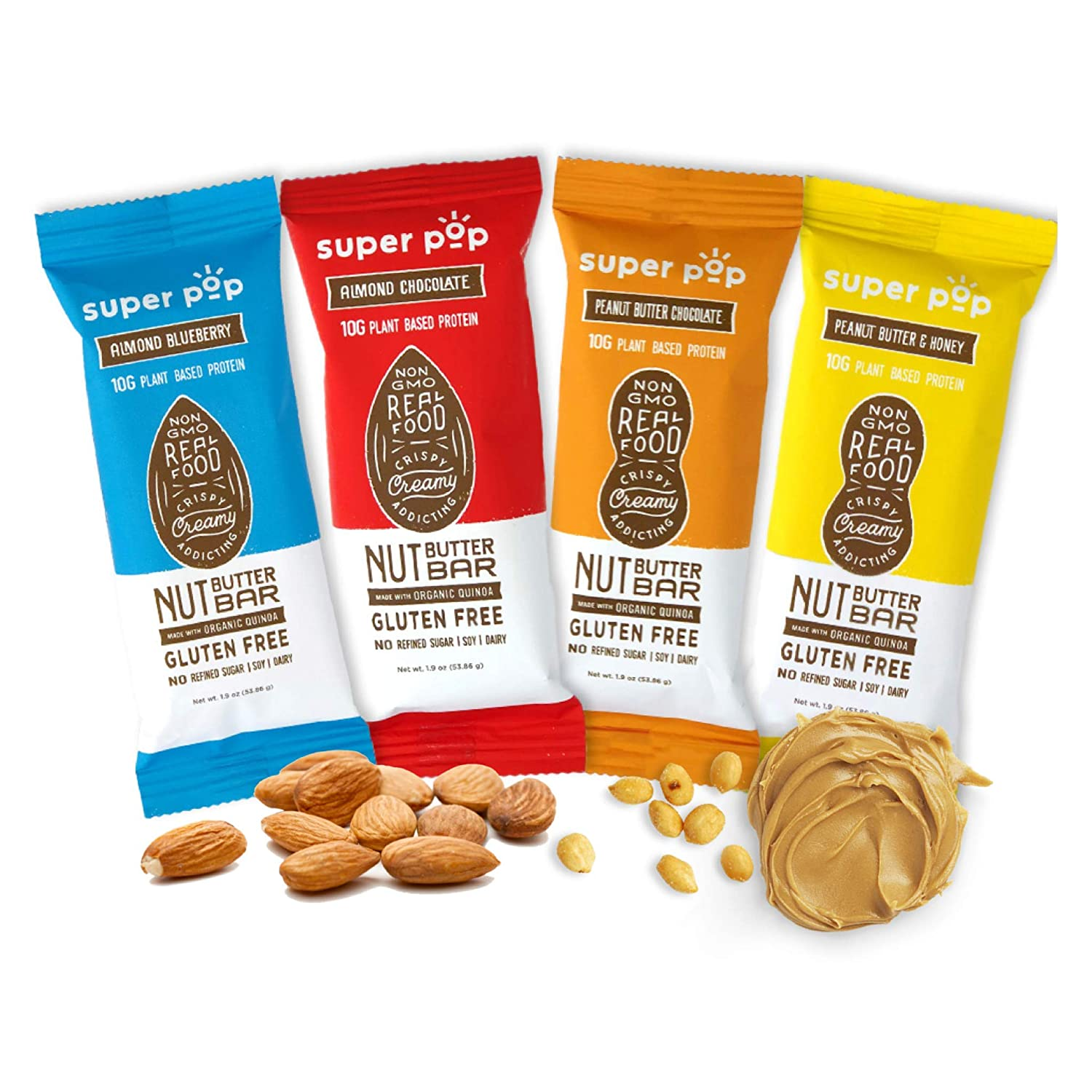 Super Pop Snacks, Clean Plant Based Protein Bars, All-Natural Nut Butter Bars With Organic Whole Foods, Delicious, Meal Replacement, Gluten Free, Soy Free, Dairy Free, 10g Protein, Variety Pack (8 Pack)