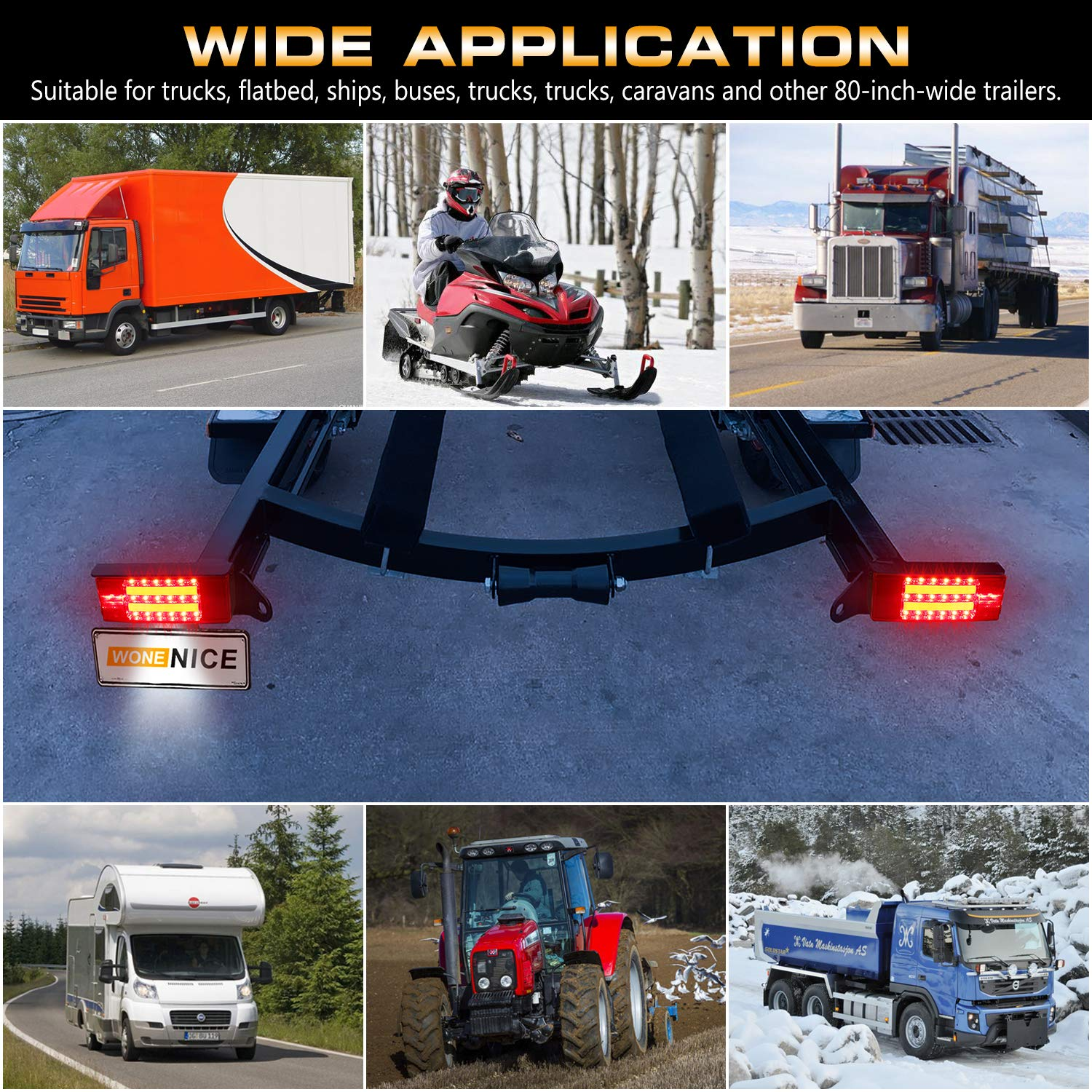WoneNice LED Low Profile Submersible Trailer Tail Light Kit Tail Lights rectangle LED Trailer Lights Halo Glow with Wiring Harness Combined Stop Turn Function for Boat Trailer 12V