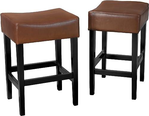 Christopher Knight Home Lopez Backless Leather Counter Stools, 2-Pcs Set, Hazelnut