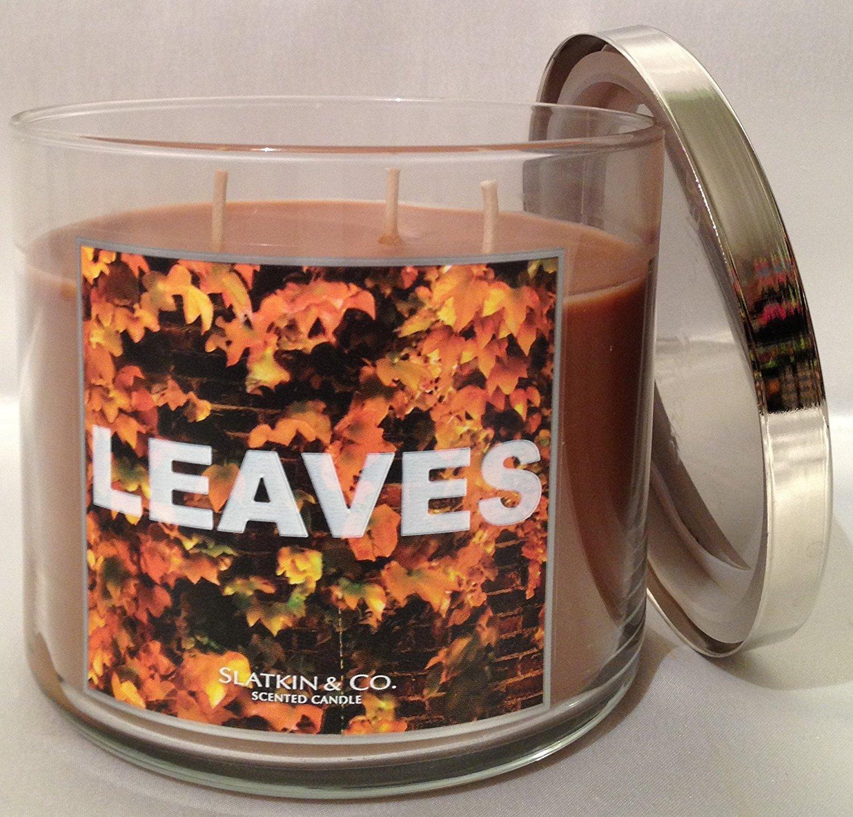 Slatkin & Co 14.5 oz LEAVES 3 wick brown wax candle Bath & Body Works