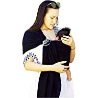 BabiJoe Au - Baby Carrier Wrap, Ring Sling, 100% Soft Linen, Baby Sling,(Black)