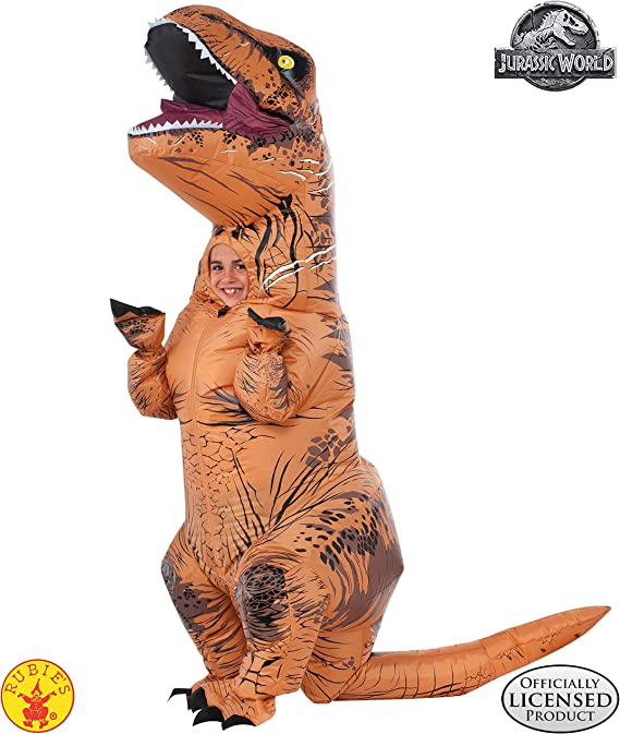 Rubies Costume Jurassic World Childs T-Rex Inflatable Costume with Sound, Multicolor