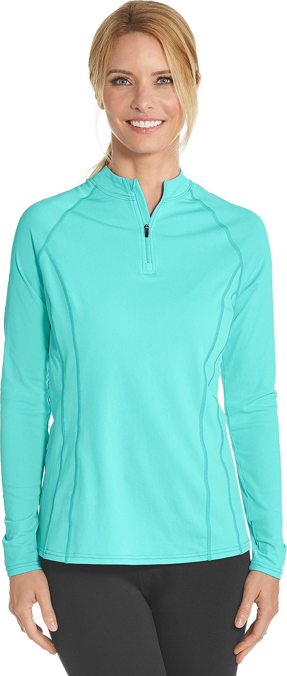 Coolibar UPF 50+ Women's Long Sleeve Freestyle Rash Guard - Sun Protective (XX-Large- Tropical Mint)