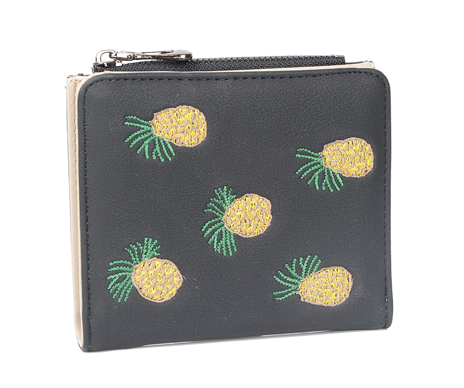Pineapple Black Nawoshow Women Cute Small Wallet Cherry Pattern Coin Purse Card Holder Clutch Bag