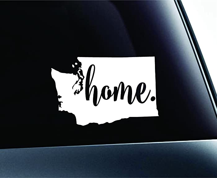 #3 Home Washington State Olympia Symbol Sticker Decal Car Truck Window Computer Laptop (White)