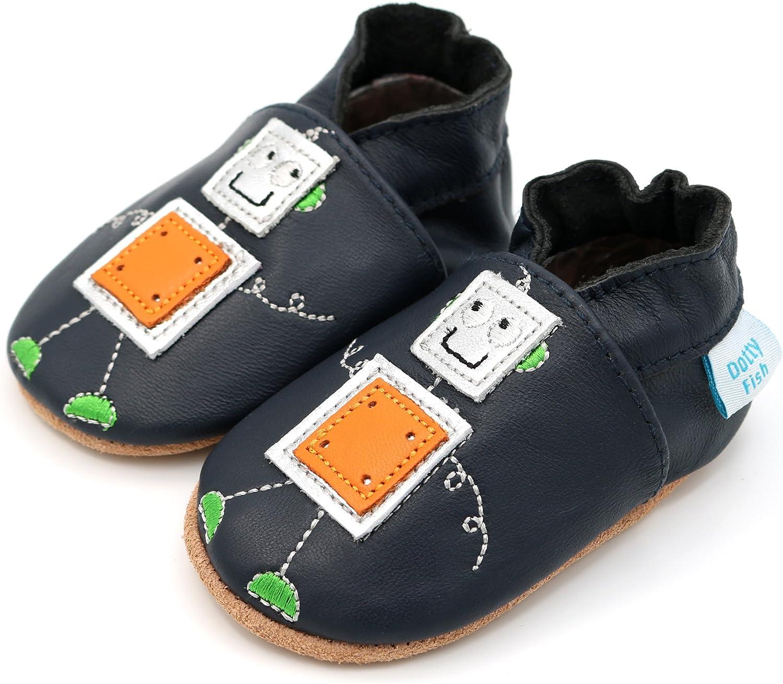 Dotty Fish Weiche Baby und Kleinkind Lederschuhe 0-6 Monate bis 4-5 Jahre Designs f/ür Jungen mit Dinosauriern und Affen.