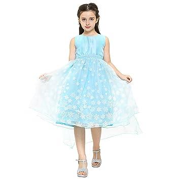 Good Katara Snow Queen Elsa Fancy Dress For Girls, Frozen Inspired Sleeveless  Dress With Snowflake Print