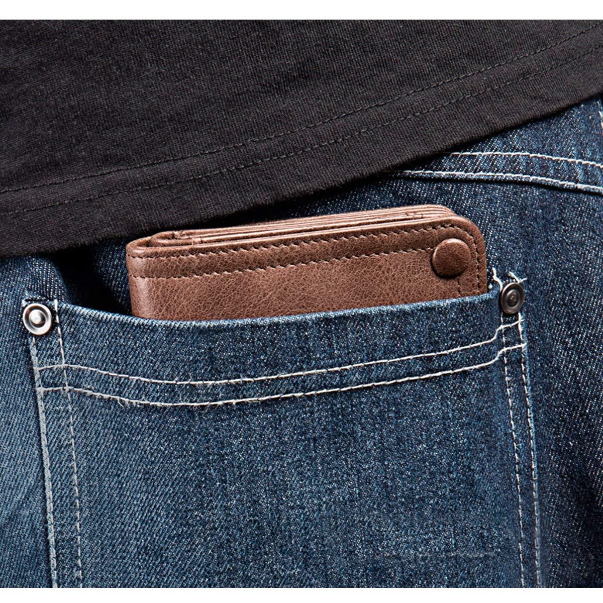 Large Travel Wallet Wrist Bag Extra Capacity Travel Wallet Kalmar RFID Travel Wallet Mens Leather Zip Wallet Clutch Color : Brown
