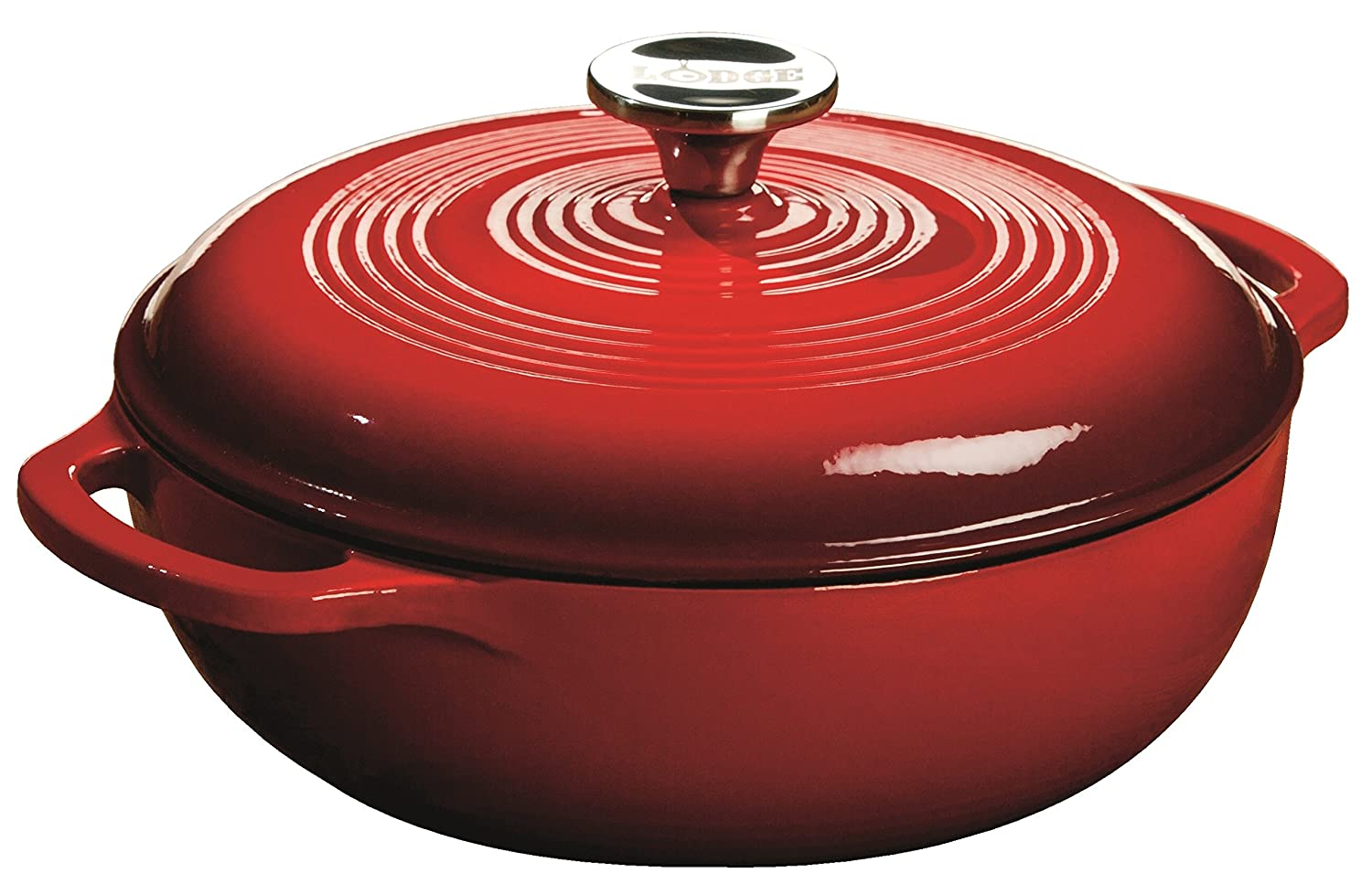 Lodge EC3D43 Enameled Cast Iron Dutch Oven, 3-Quart, Island Spice Red