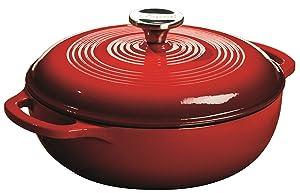 Lodge EC3D43 Enameled Cast Iron Dutch Oven, 3-Quart, Island Spice Red