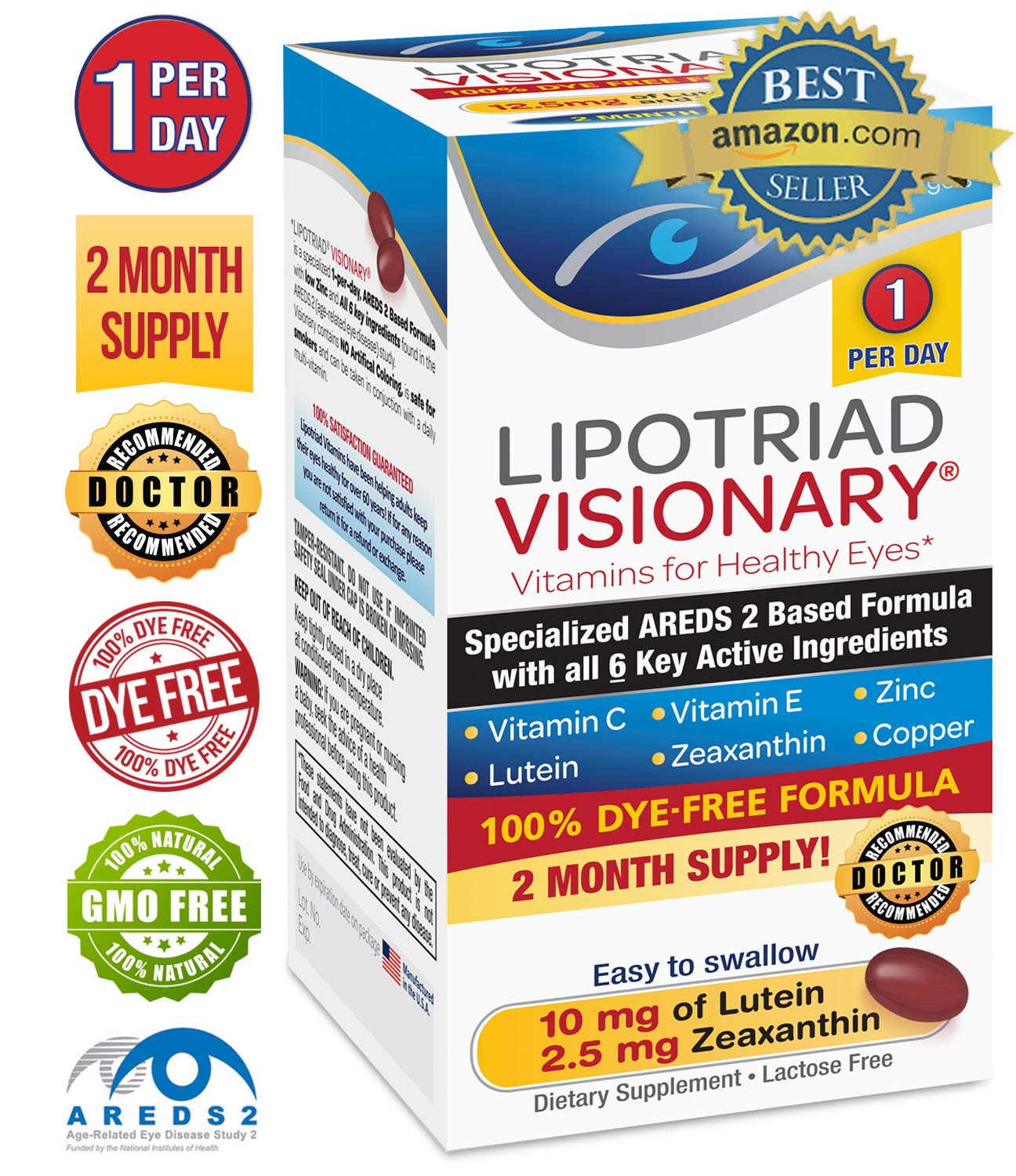 Lipotriad Visionary 1 Per Day AREDS 2 Eye Vitamin & Mineral Supplement | All 6 key ingredients in the AREDS 2 Study | Dye Free, Low Zinc, Safe for Smokers, Easy to Swallow | 2 Mo Supply - 60ct by Lipotriad