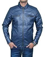 Magic Attitude Men's Pu Faux Leather Jacket(Magicmen-Leather-Jacket-Blue_Blue_Free Size)