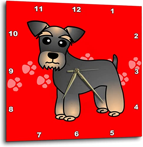 3D Rose Miniature Schnauzer Banded Brown Base Coat Salt and Pepper – Cartoon Dog – Red with Pawprints Wall Clock, 15 x 15