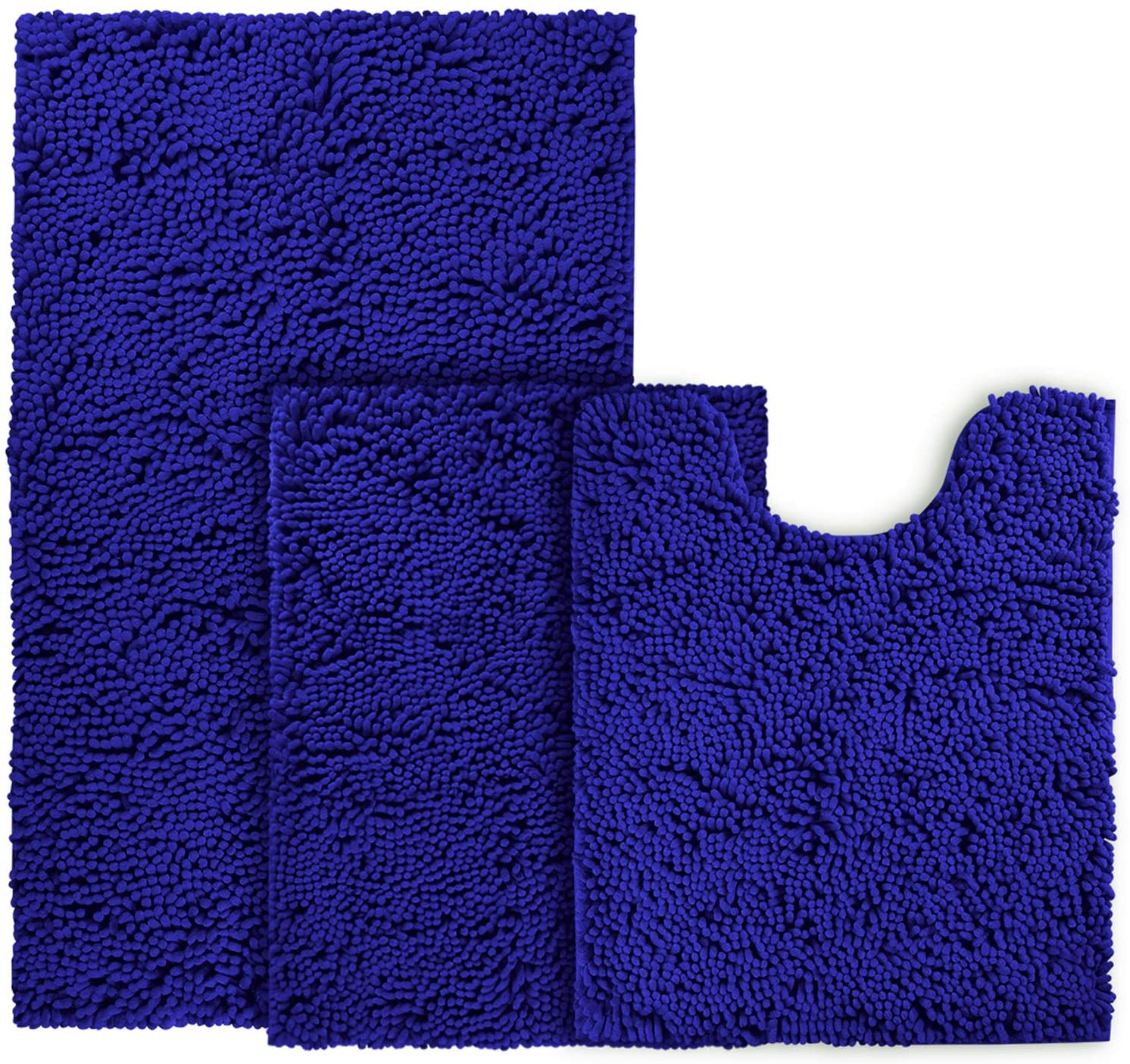 Amazon Com Bysure Royal Blue Bathroom Rug Set 3 Piece Non Slip Extra Absorbent Shaggy Chenille Bathroom Rugs And Mats Sets Soft Dry Bath Rug Mat Sets For Bathroom Washable Carpets Set Kitchen