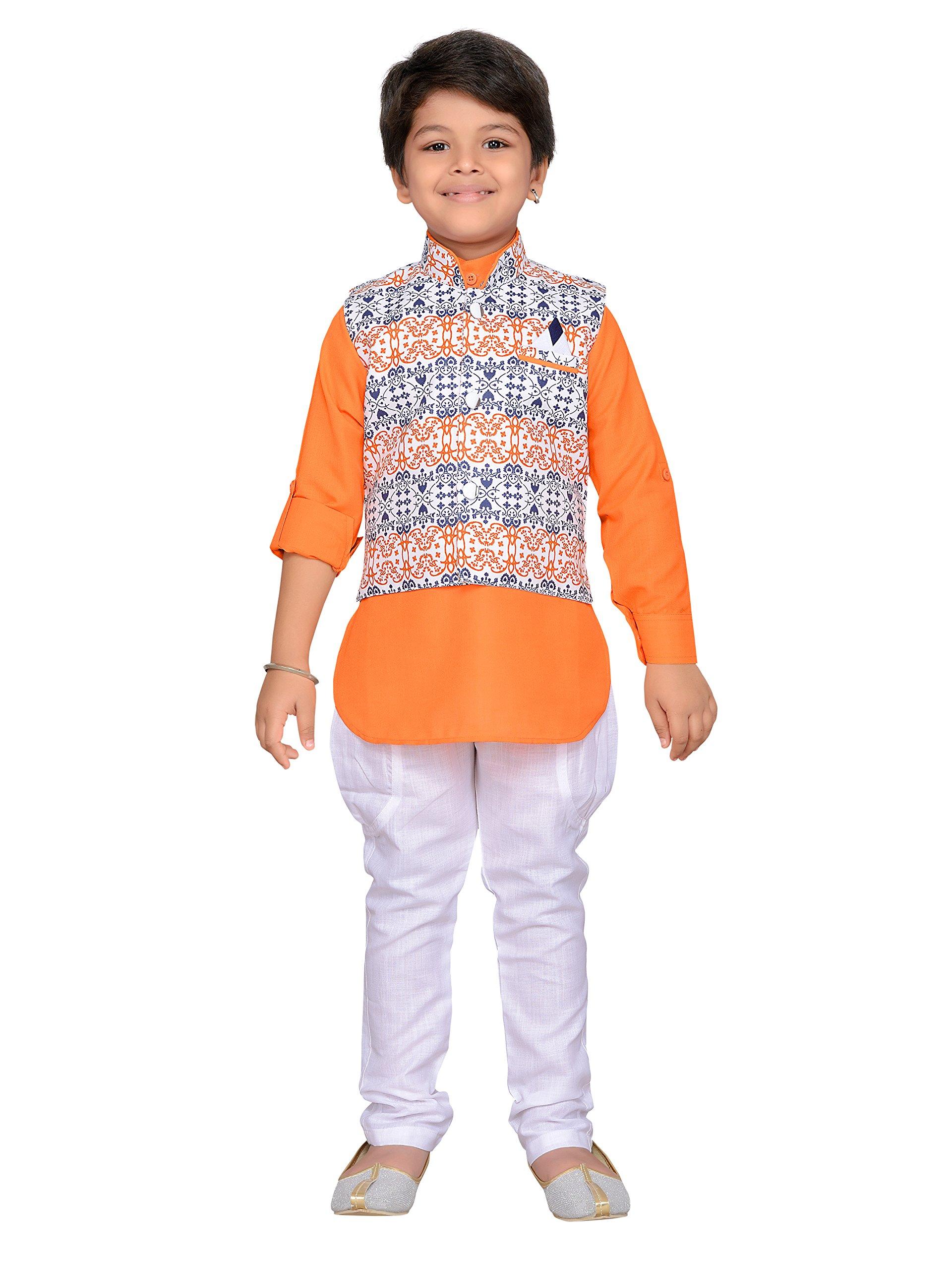 AJ Dezines Kids Indian Wear Bollywood Style Kurta Pyjama Waistcoat for Boys (1205-ORANGE-16)