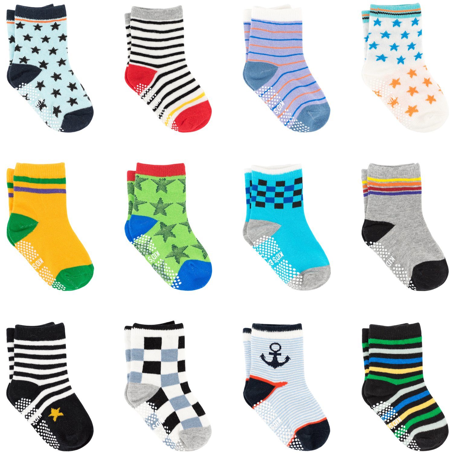 Ateid Toddlers Baby Anti-Skid Socks with Grips Ankle Socks Cotton 1-3 Years Pack of 12