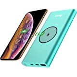 BONAI PowerBank Wireless 12000mAh 2 in 1 Caricabatterie Portatile Caricatore con 1 Porte USB And 2 Porte di Entrata Batteria per iPhone,Samsunge per Tutti I Dispositivi Compatibili Qi - Verde