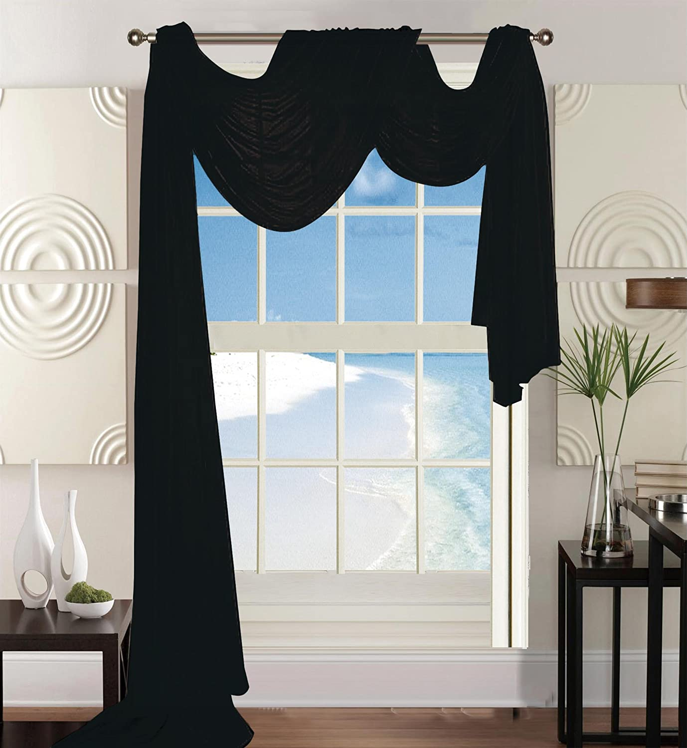 "Elegant Comfort Beautiful Window Panel Curtain Sheer Voile Scarf 54"" X 216"" Black"