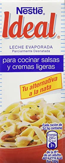 Nestlé Ideal - Leche Evaporada Para Salsas y Cremas Ligeras - Pack de 15 x 210