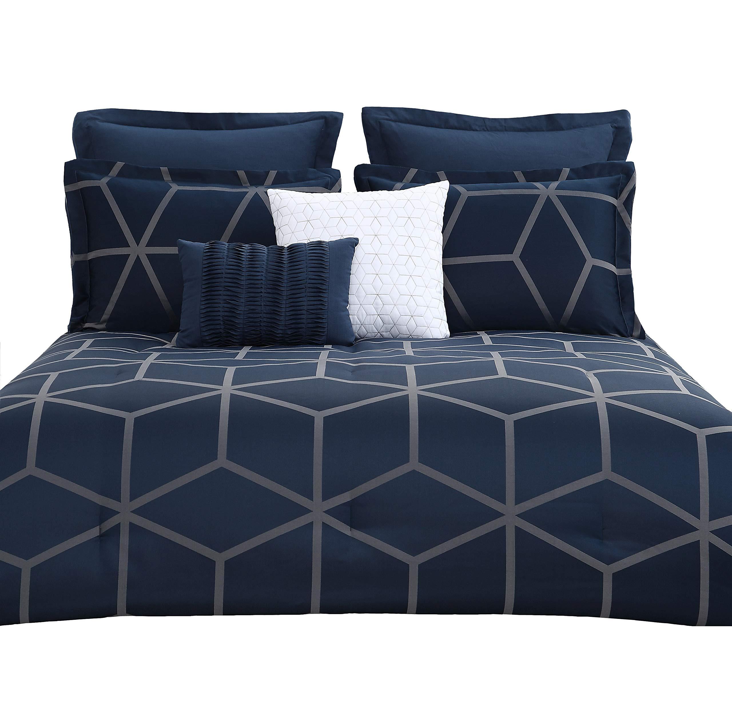 "Chezmoi Collection Corvo-Com-Navy-Queen 5 Pieces Modern Jacquard Geometric Lattice Pattern Bedding Comforter Set - Corvo by Chezmoi Collection 1 Comforter 90"" x 92""; 2 Shams 20"" x 26"" 1 Cushion 18"" x 18""; 1 Breakfast Pillow 12"" x 18"" - comforter-sets, bedroom-sheets-comforters, bedroom - 819faQiRjHL -"