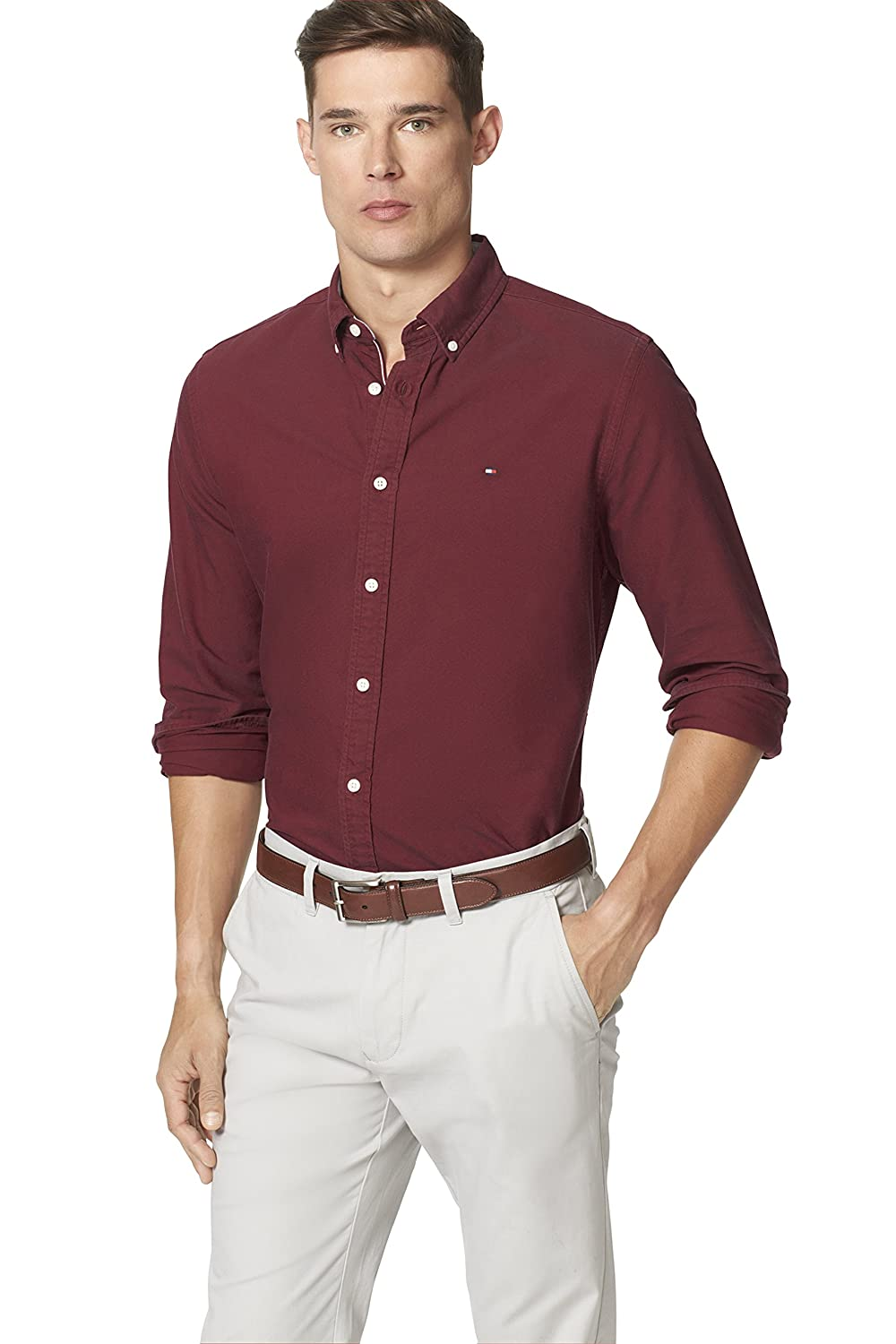 Tommy Hilfiger Men's New England Solid Oxford Shirt 8814408