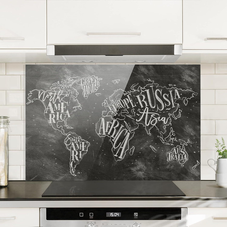 Kreide Weltkarte Bilderwelten Spritzschutz Glas Quer 2:3 HxB: 40cm x 60cm