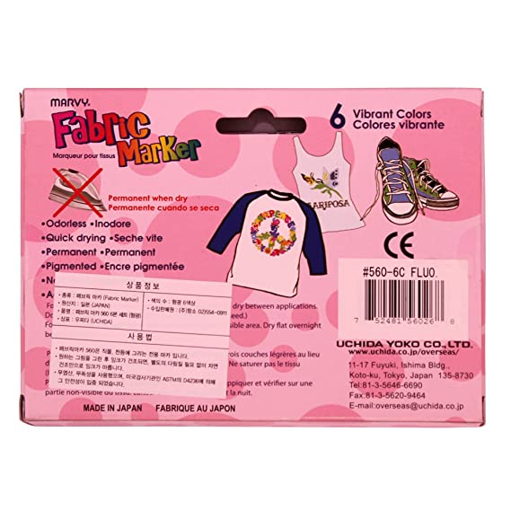 Amazon.com : Uchida Marvy Permanent Fabric Marker Clothing, Decor 6/10/12 Colors (Fluorescent - 6 Colors) : Office Products