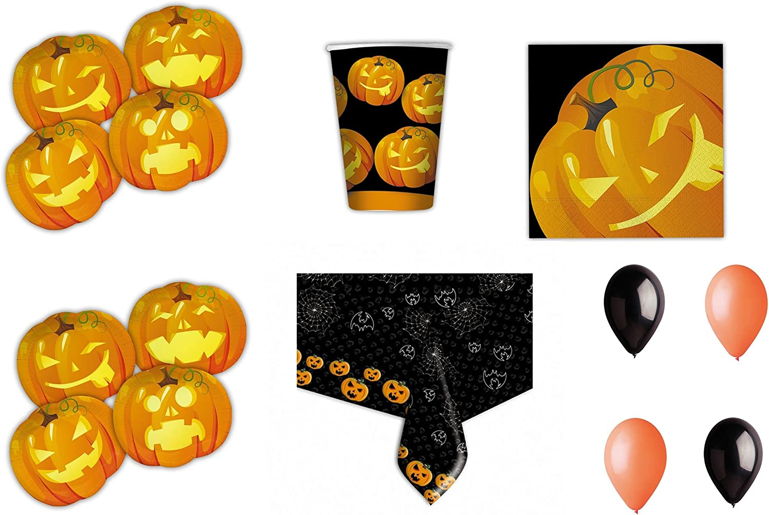 Halloween Pumpkin coordinated Plates Cups Tablecloth Table Party 24 children